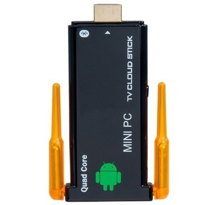 Generic J22 Mini PC Google Android 4.2 TV Dongle Quad Core RK3188 ARM Cortex -A9 processor up to 1.6GHZ, Mali-400MP4 Quad-core GPU, RAM DDR3 2GB; Nand Flash 8GB, Dual Wifi antennas Bluetooth
