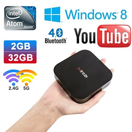 Vensmile W8 Wintel Compute Stick Mini PC with Intel Atom BayTrail CR,Z3735F Quad Core Pocket Smart Computer HDMI TV Stick Windows 8.1 With Bing OS with Memory DDR3 2GB EMMC 32GB Bluetooth 4.0 Ethernet Micro SD Card