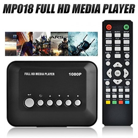 Blusmart® 1080P Full HD Multi TV Media Player HDMI Video Player with YPbPr USB 2.0 SD and HDMI Ports MP3 AVI RMVB MPEG etc Player with Remote Control